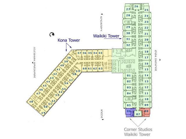 アラモアナホテルコンド 平面図  部屋番号
